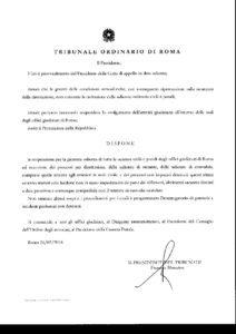 Ordinanza del Presidente del Tribunale di Roma
